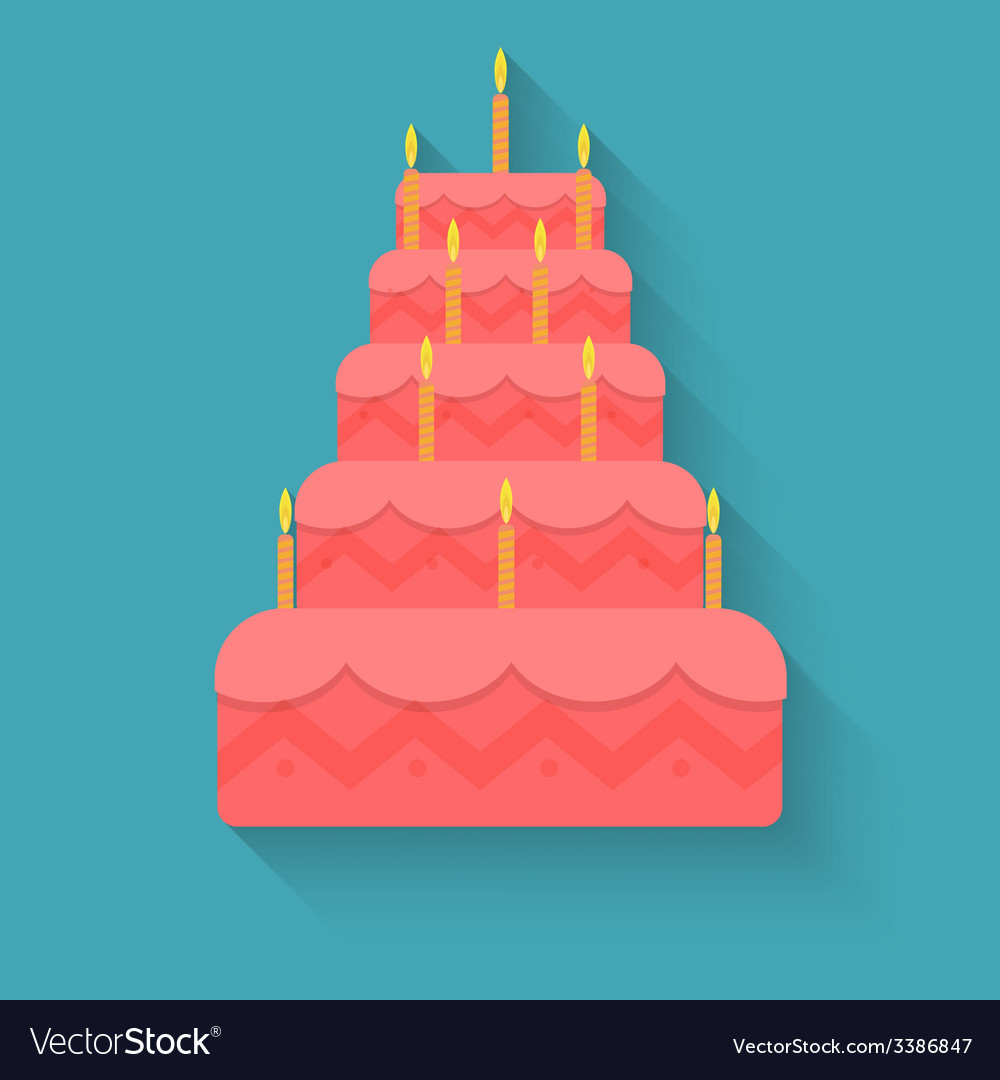 Cake for birthday in style flat vector | Price: 1 Credit (USD $1)