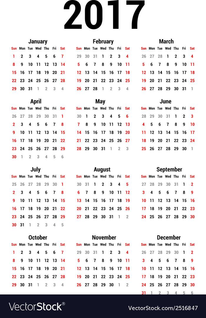 Calendar 2017 vector | Price: 1 Credit (USD $1)