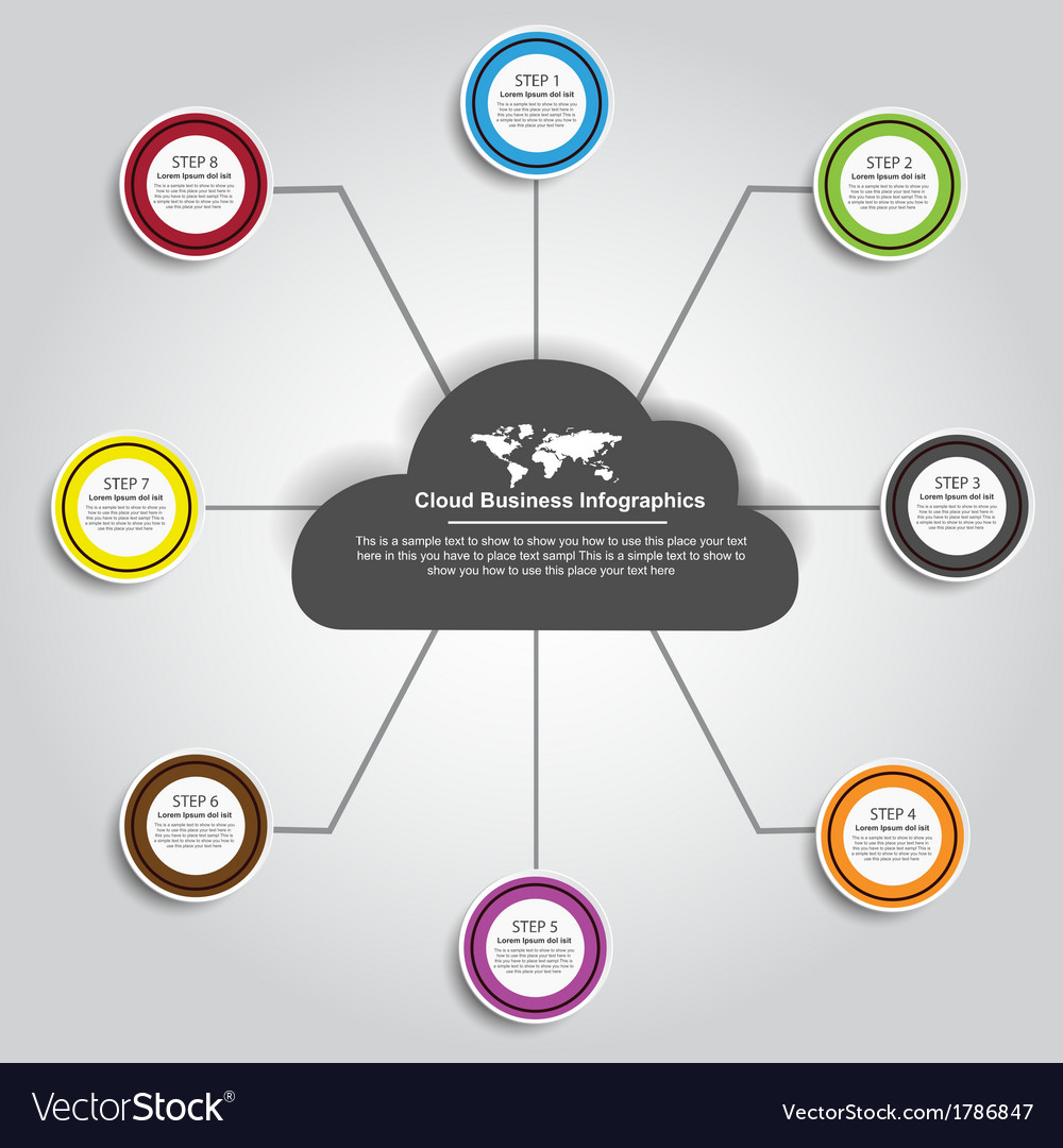 Cloud business infographics vector | Price: 1 Credit (USD $1)
