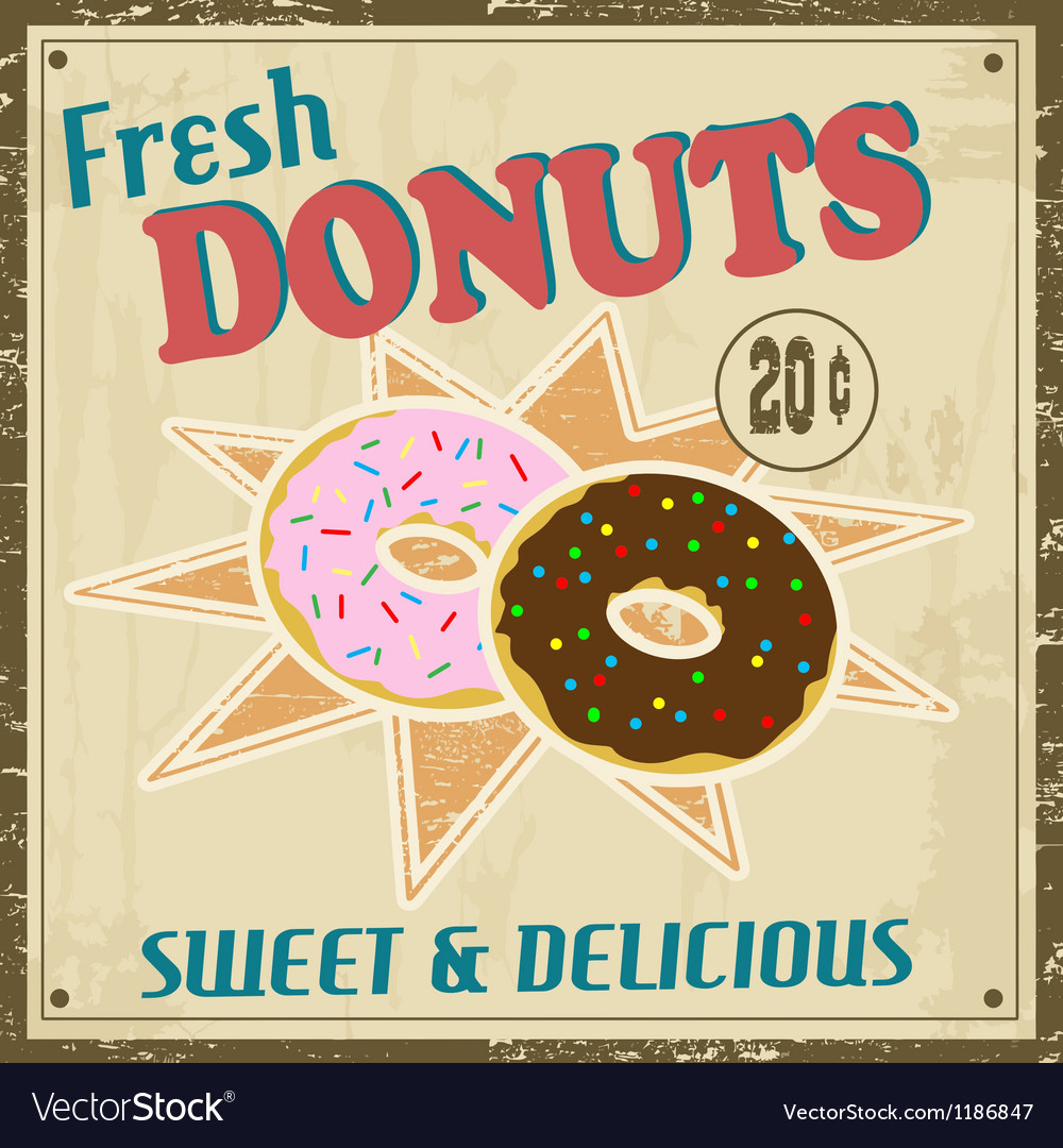 Donuts vintage poster vector | Price: 1 Credit (USD $1)