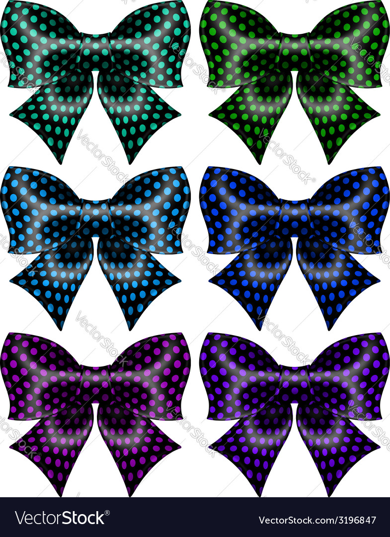 Festive black polka dot bows vector | Price: 1 Credit (USD $1)