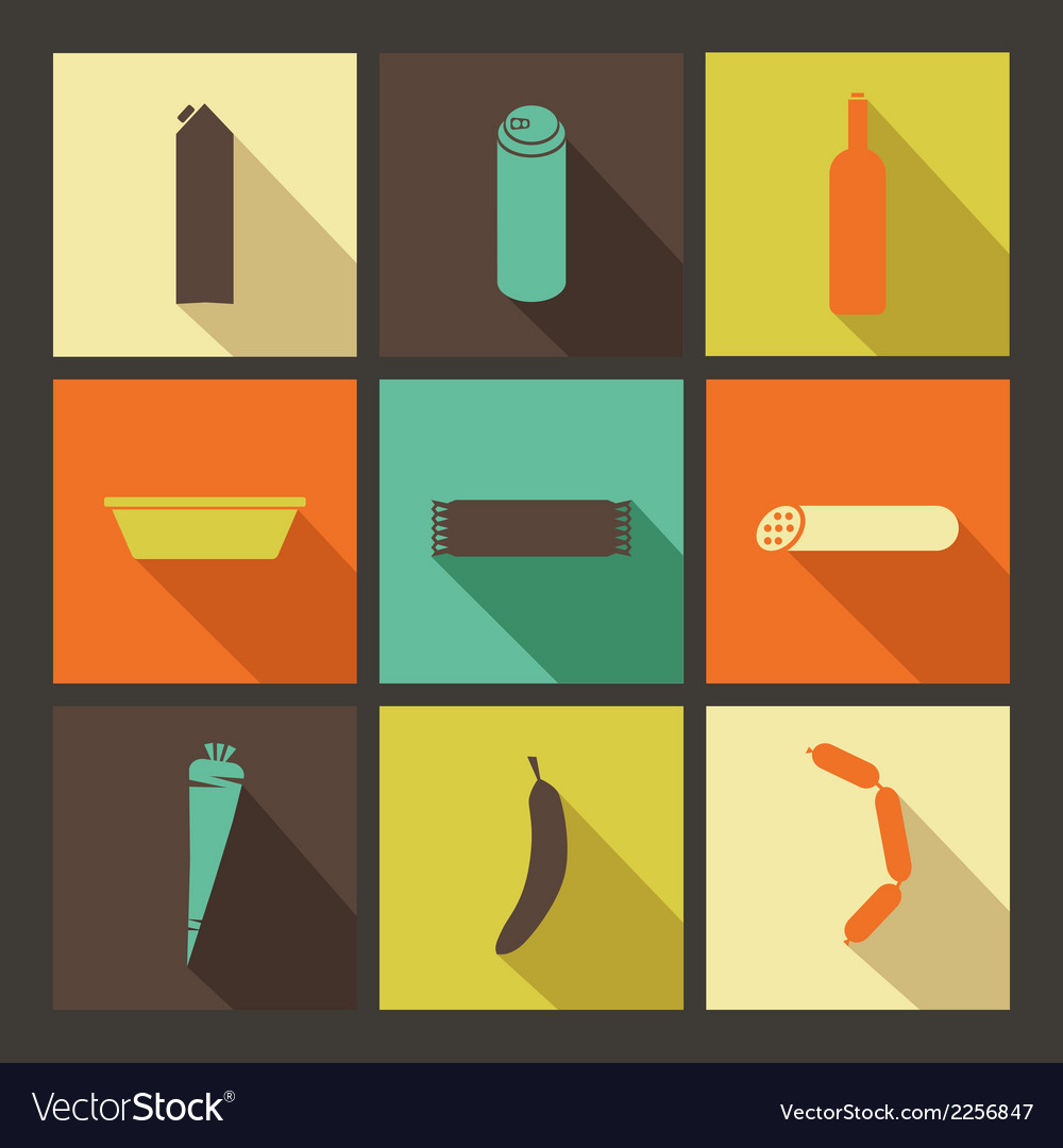 Food set of bright icons in flat style vector | Price: 1 Credit (USD $1)