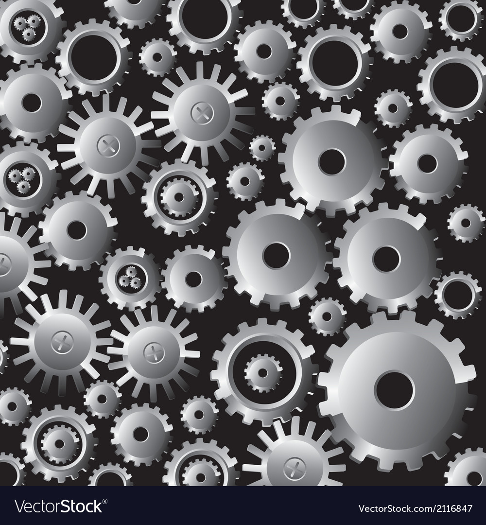 Many gears on black background vector | Price: 1 Credit (USD $1)
