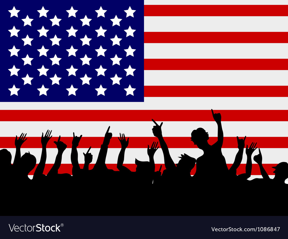People gathering in front of usa flag vector | Price: 1 Credit (USD $1)