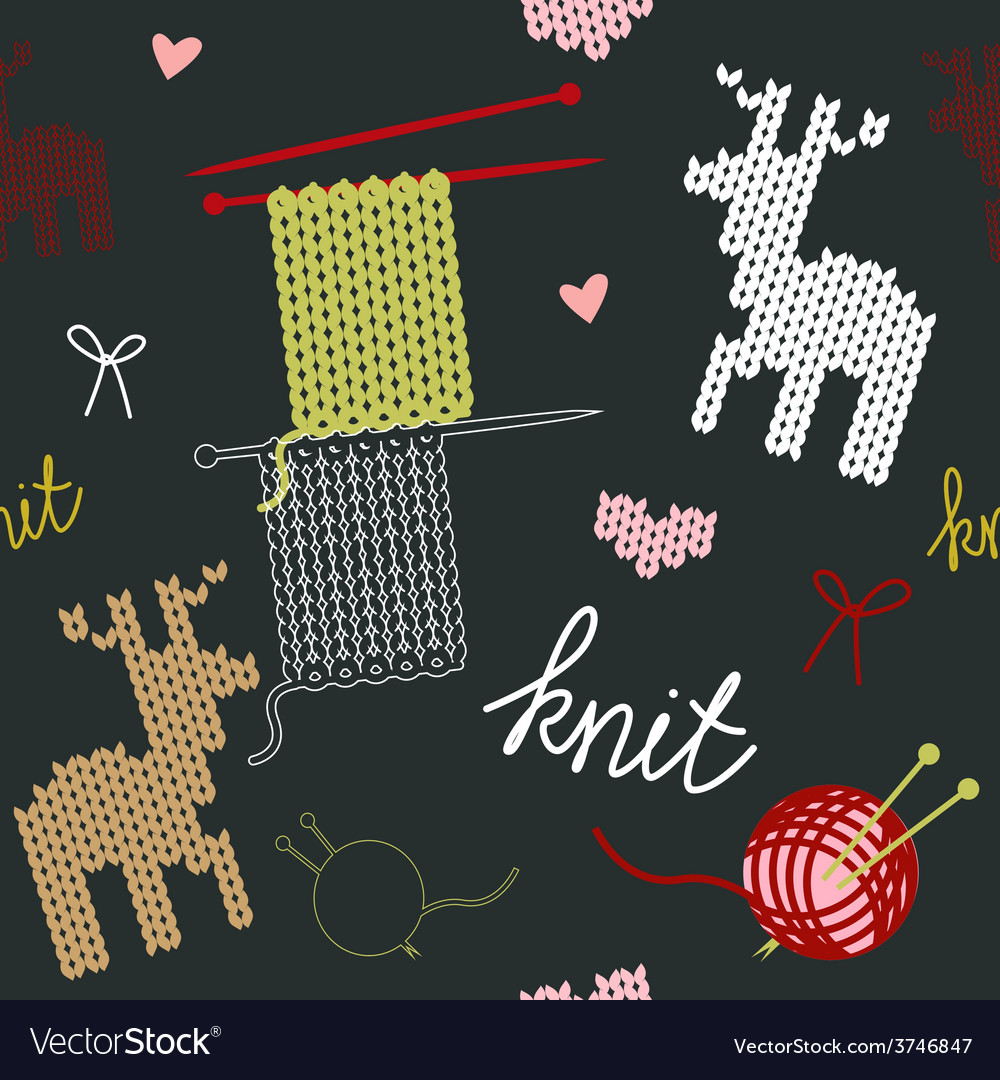 Seamless pattern with knit deer vector | Price: 1 Credit (USD $1)
