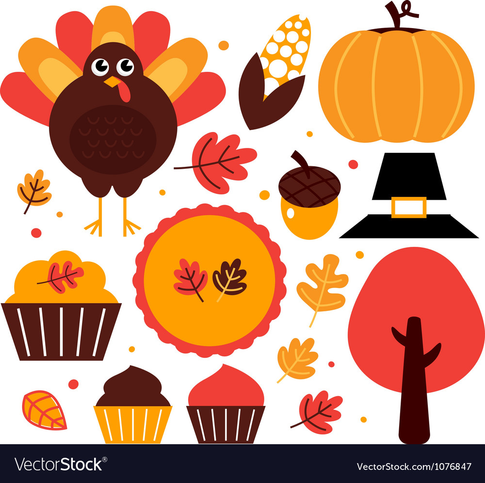 Thanksgiving design elements set vector | Price: 1 Credit (USD $1)