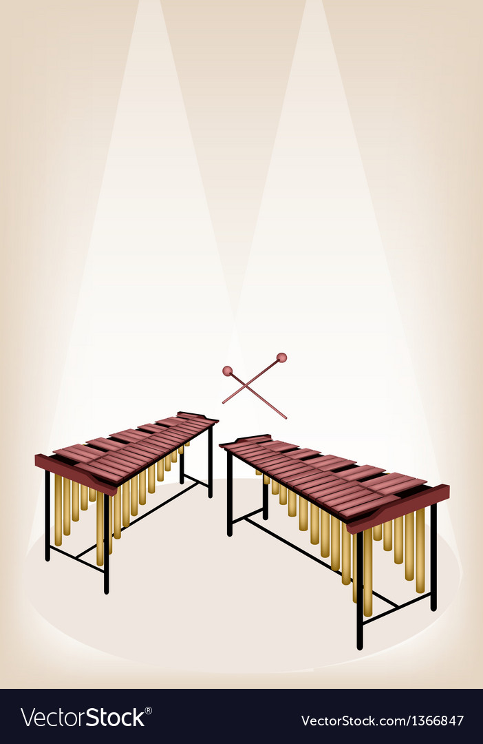 Two retro marimba on brown stage background vector | Price: 1 Credit (USD $1)