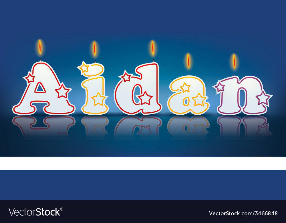 Aidan written with burning candles vector | Price: 1 Credit (USD $1)