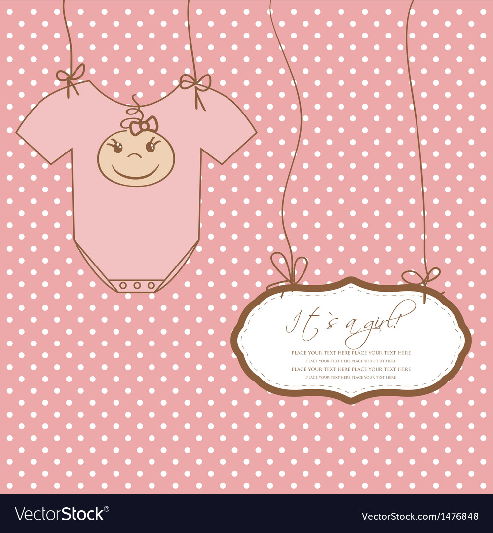 Baby girl shower card with foot steps and frame vector | Price: 1 Credit (USD $1)