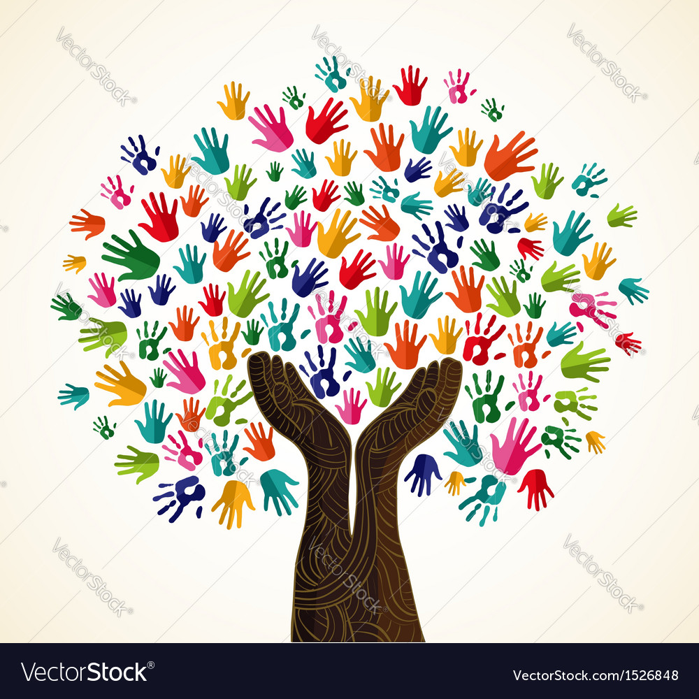 Colorful human hands solidarity tree vector | Price: 1 Credit (USD $1)