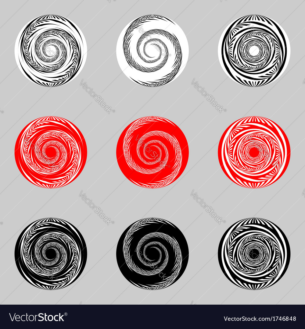 Design set of abstract spiral elements vector | Price: 1 Credit (USD $1)
