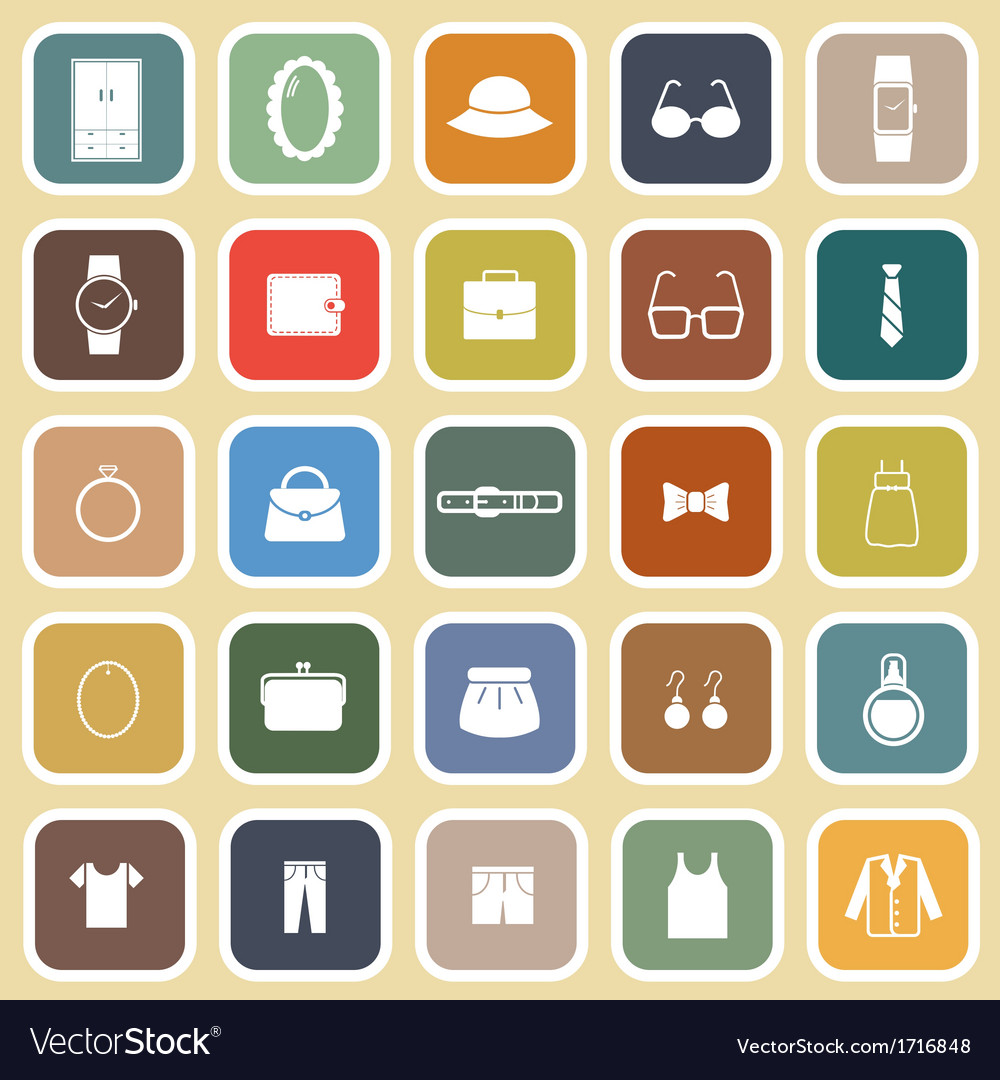Dressing flat icons on brown background vector | Price: 1 Credit (USD $1)