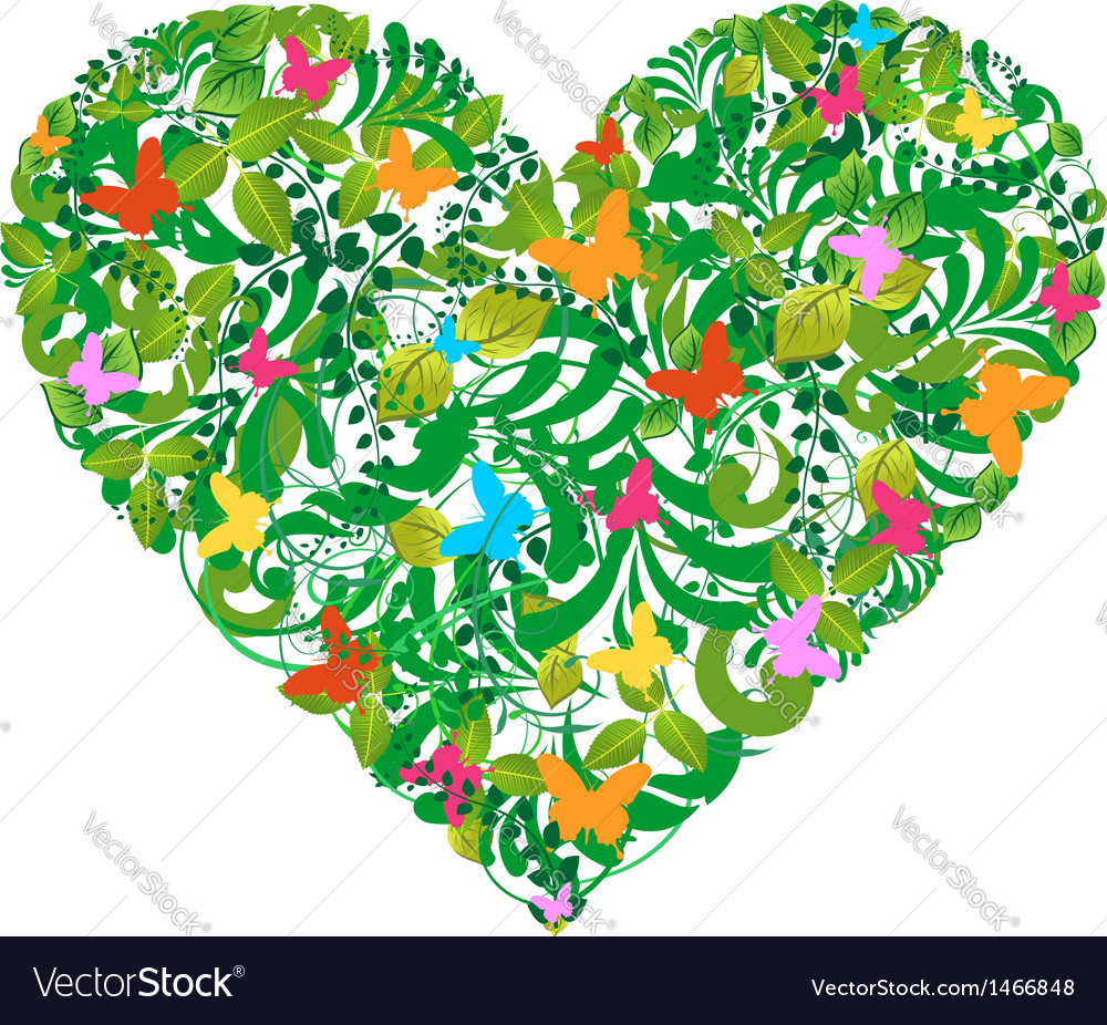 Green floral spring and summer love vector | Price: 1 Credit (USD $1)