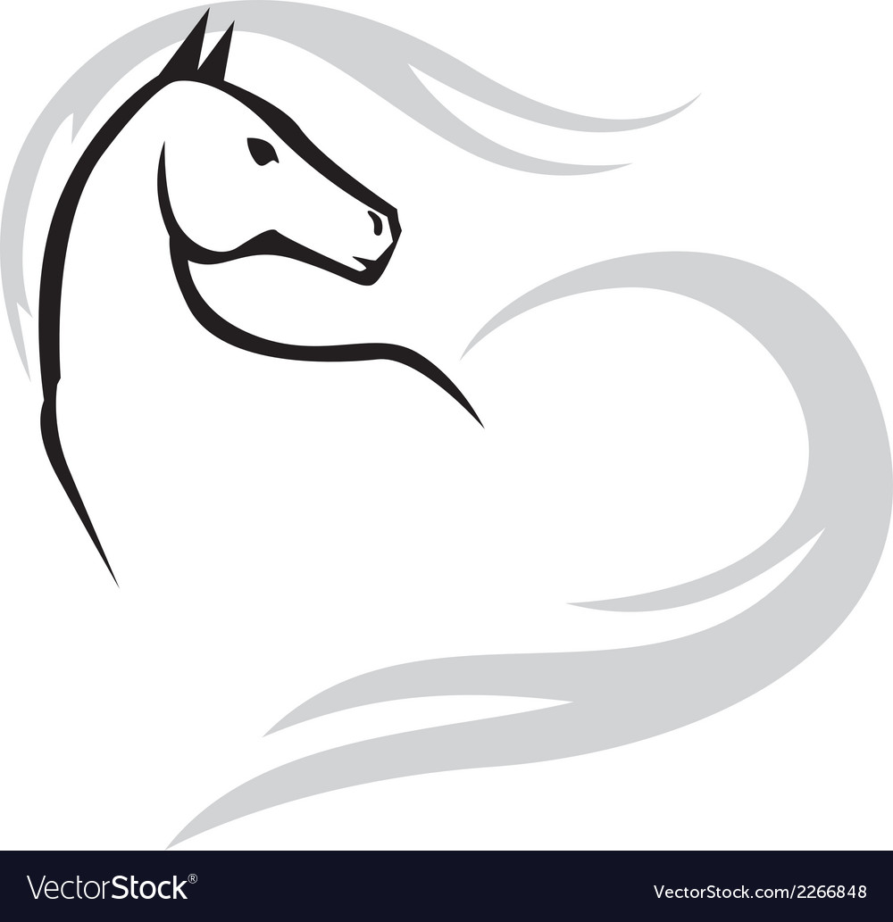 Horse mane heart vector | Price: 1 Credit (USD $1)
