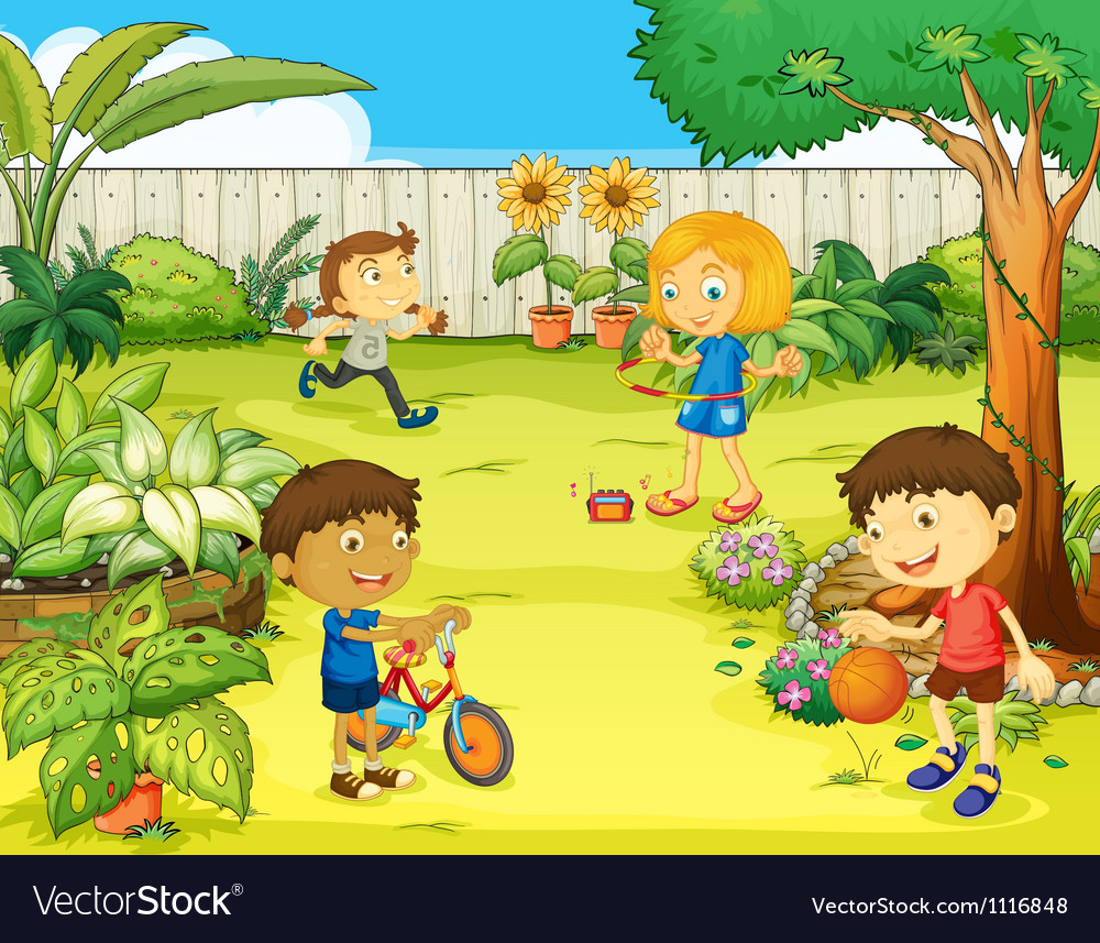 Kids playing in beautiful nature vector