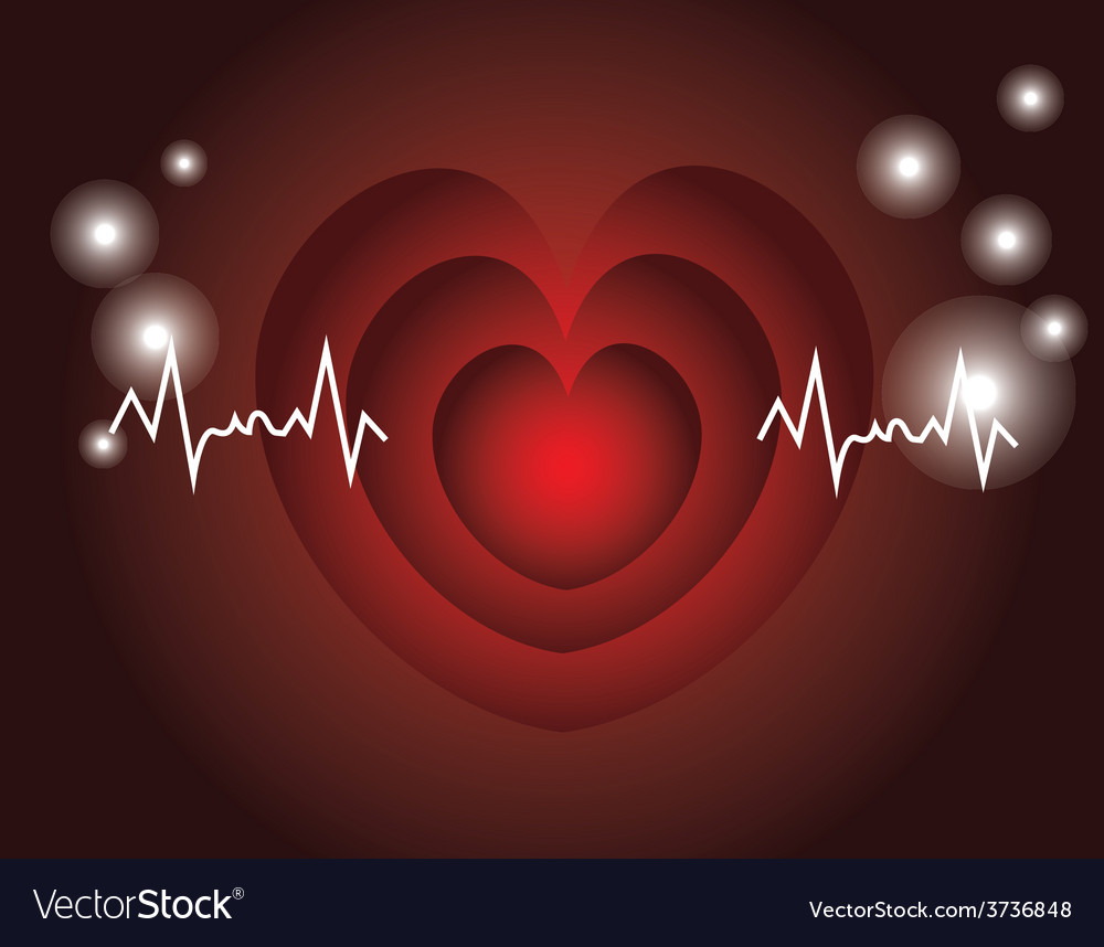 Red heart beats with cardiogram vector | Price: 1 Credit (USD $1)