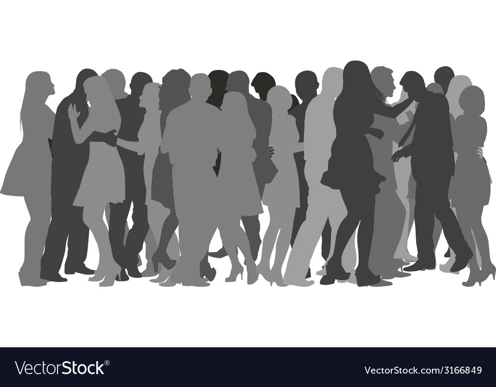 Crowd dancing vector