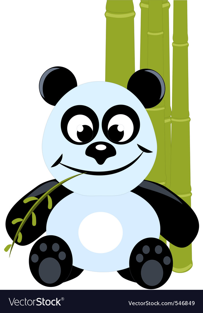 Cute little panda with green bamboo vector | Price: 1 Credit (USD $1)