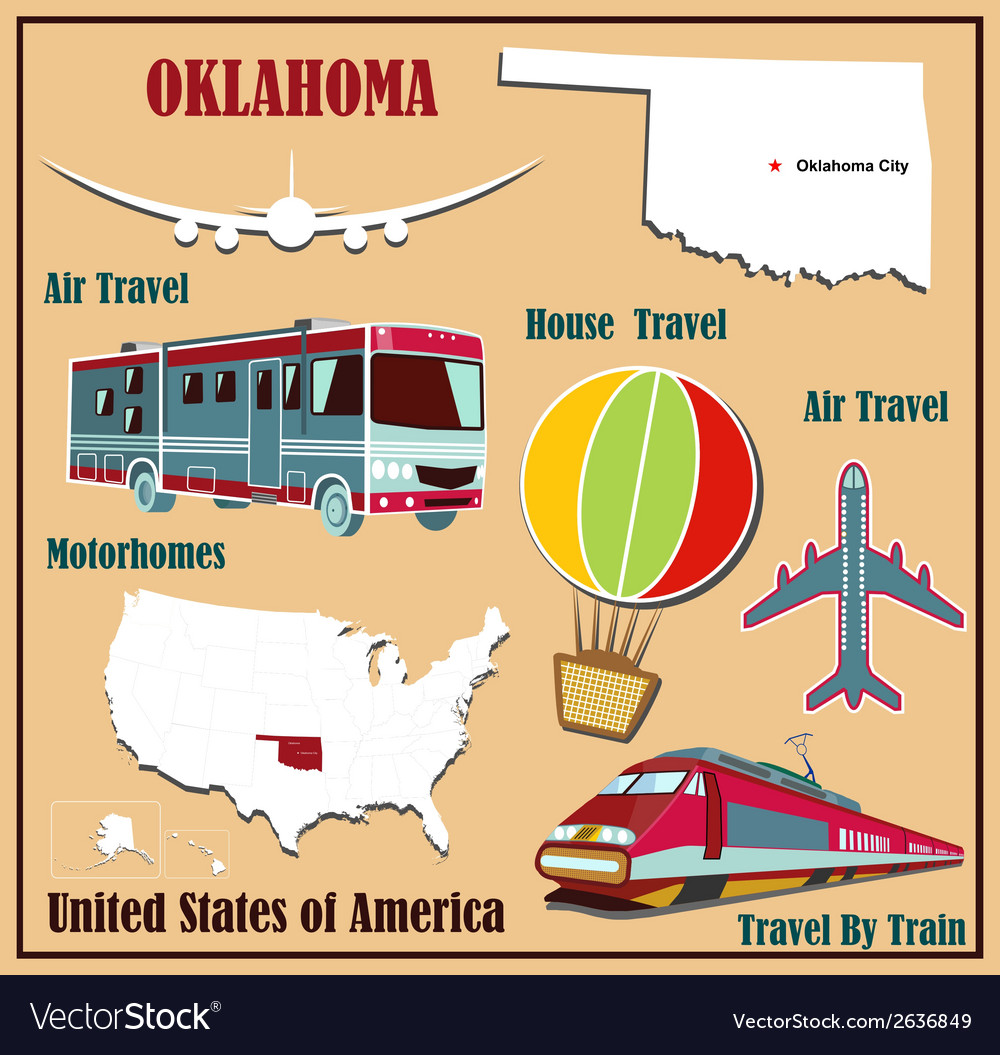 Flat map of oklahoma vector | Price: 1 Credit (USD $1)