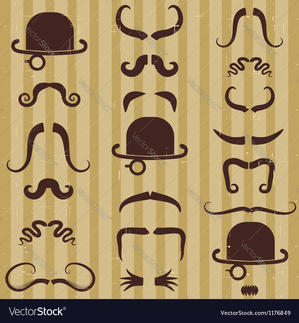 Gentlement with mustache and hat on vintage card vector | Price: 1 Credit (USD $1)