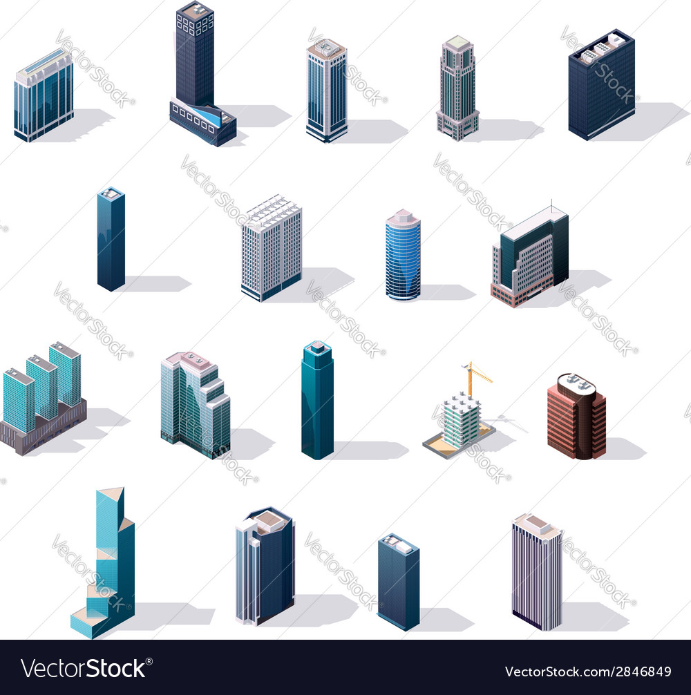 Isometric city center buildings set vector | Price: 1 Credit (USD $1)