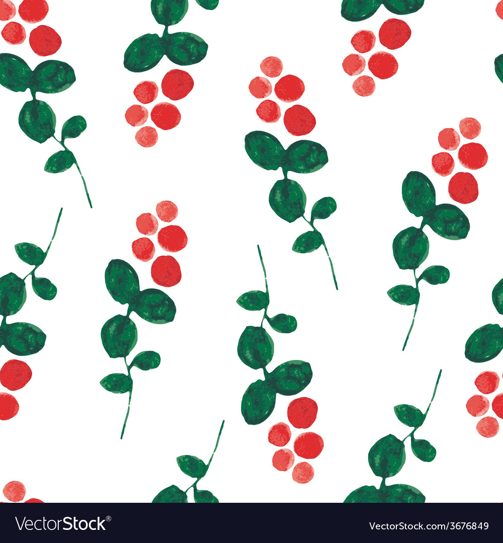Red bilberry watercolor seamless pattern vector | Price: 1 Credit (USD $1)