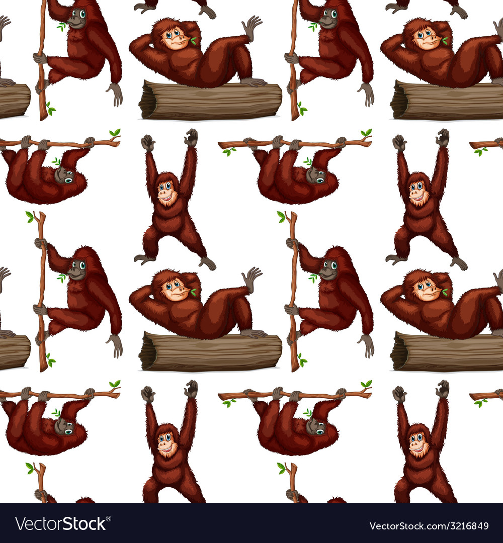 Seamless orangutan vector | Price: 1 Credit (USD $1)