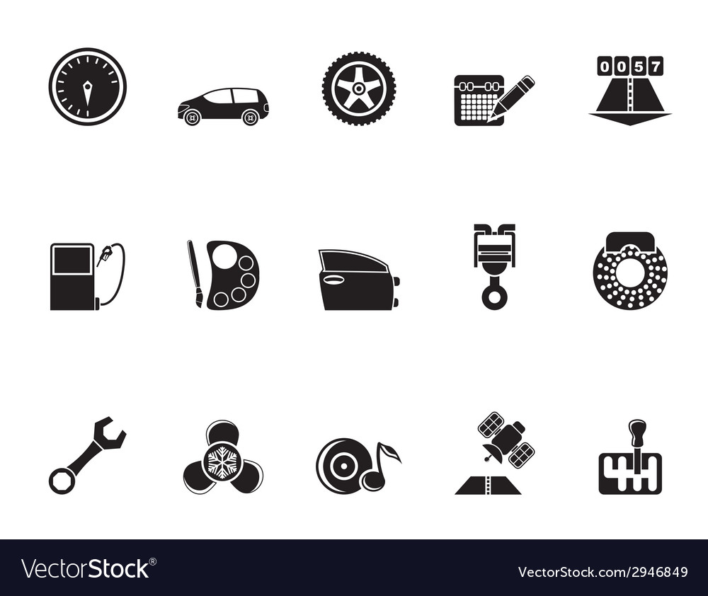 Silhouette car parts and characteristics icons vector | Price: 1 Credit (USD $1)