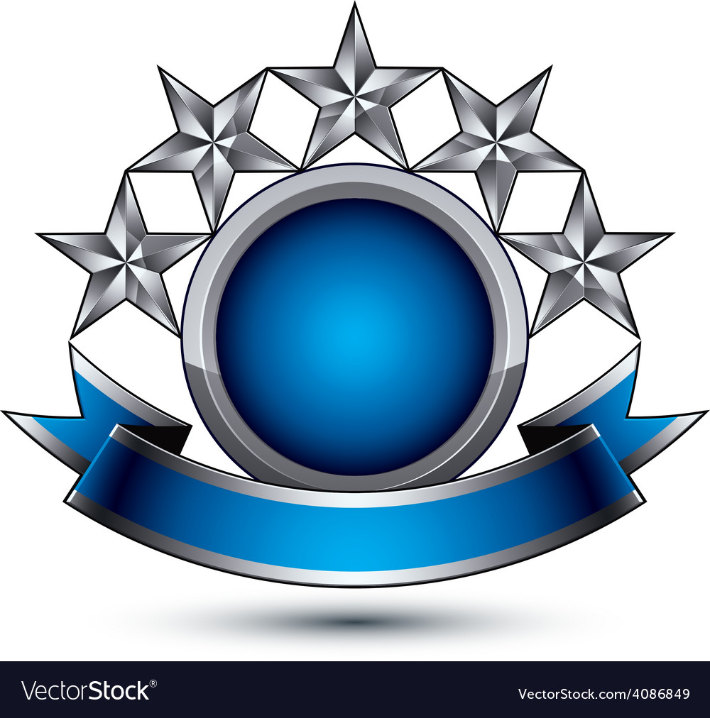 Sophisticated emblem with 5 silver glossy stars vector | Price: 1 Credit (USD $1)