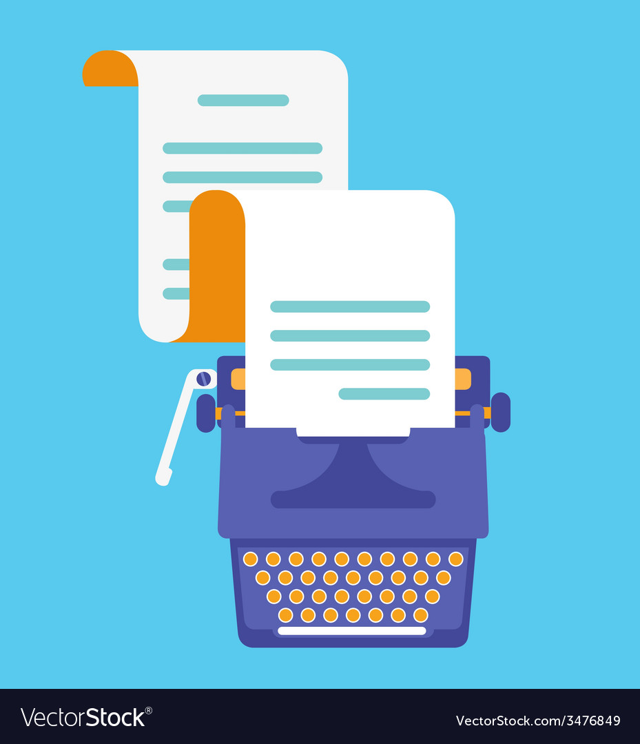 Typewriter with sheet of paper view top flatstyle vector | Price: 1 Credit (USD $1)