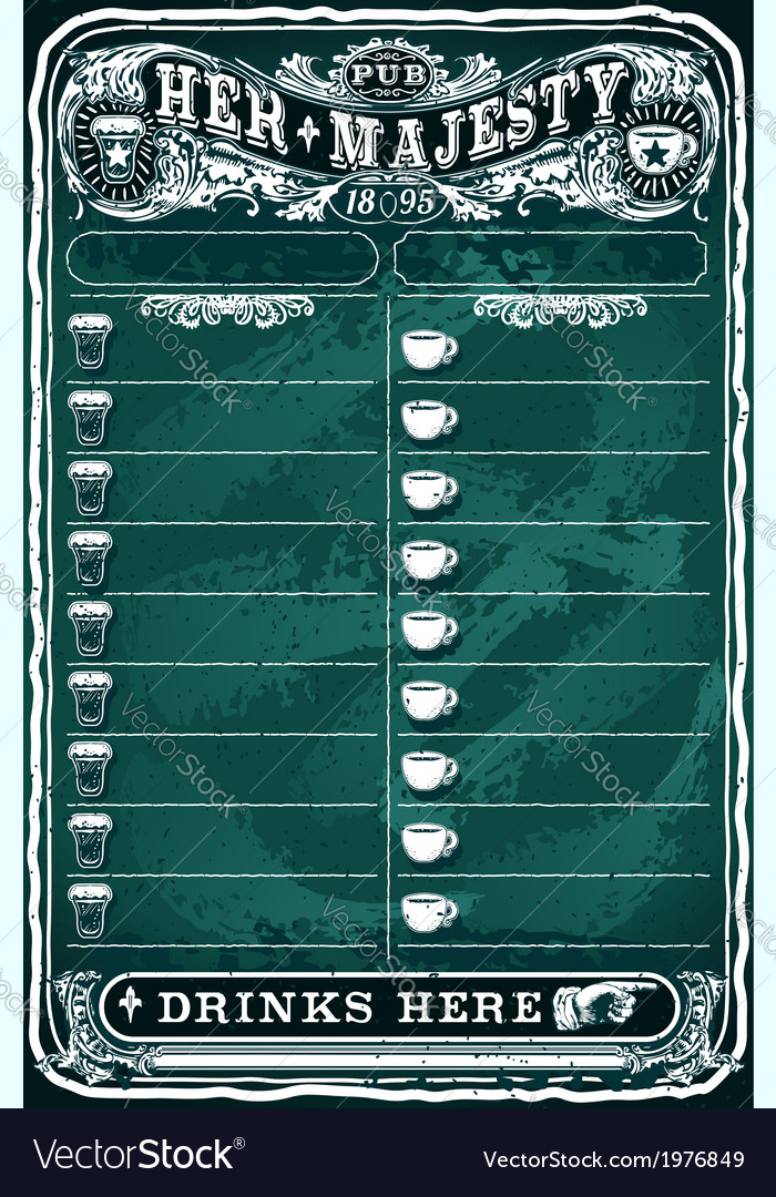 Vintage hand drawn board for pub menu vector | Price: 1 Credit (USD $1)