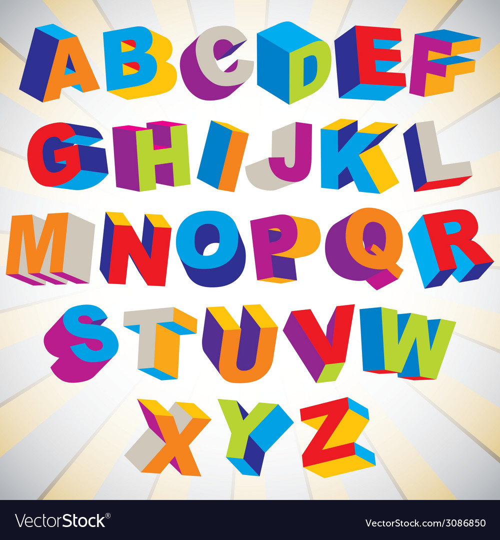 3d font bold psychedelic colorful alphabet vector | Price: 1 Credit (USD $1)