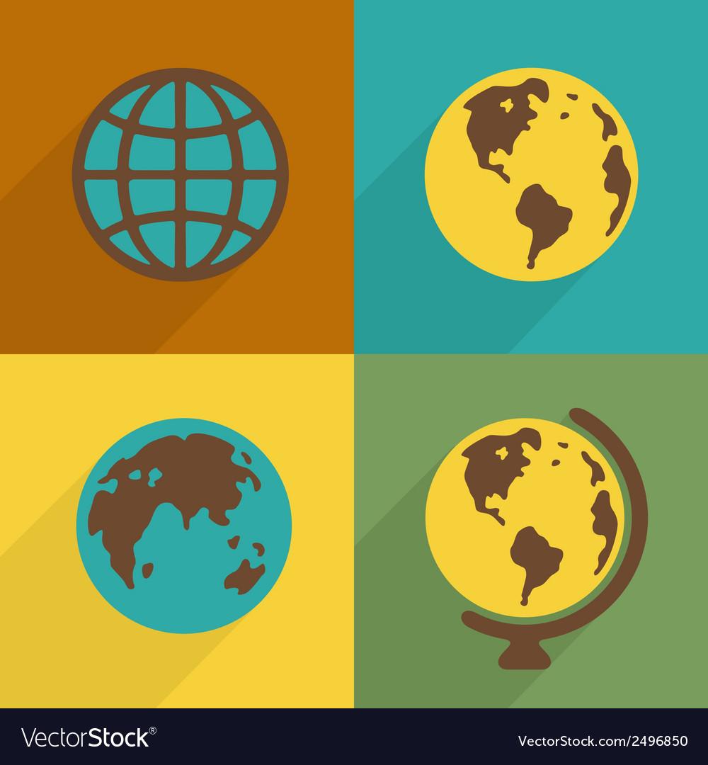 Flat planet symbol set vector | Price: 1 Credit (USD $1)