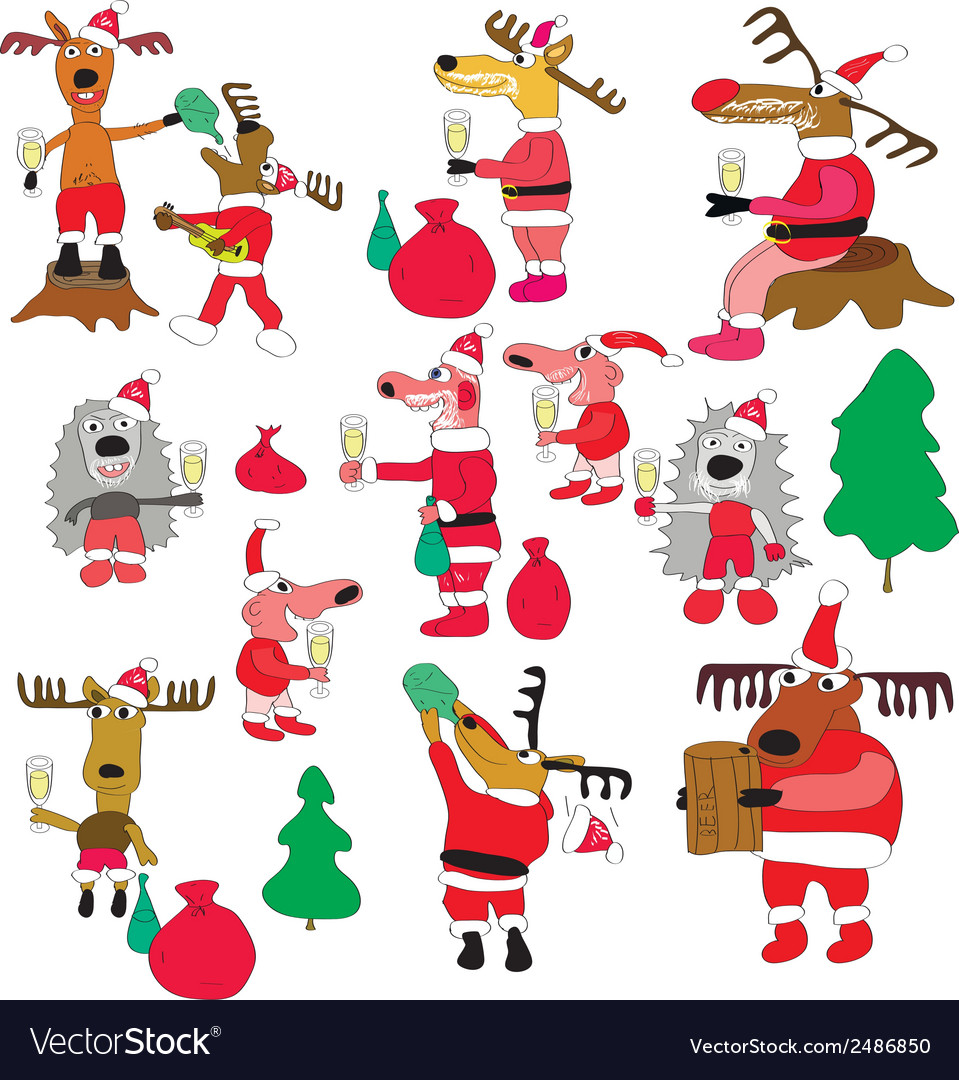 Santa and deers vector | Price: 1 Credit (USD $1)