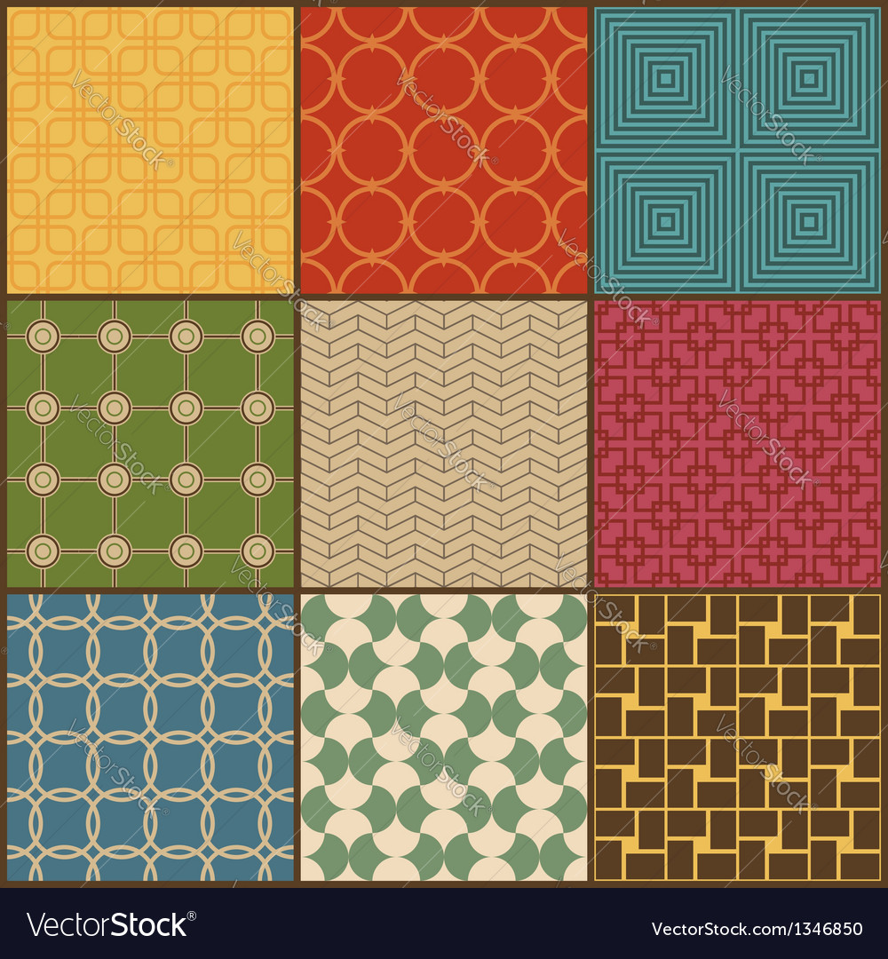 Set of nine retro simple geometric seamless vector | Price: 1 Credit (USD $1)