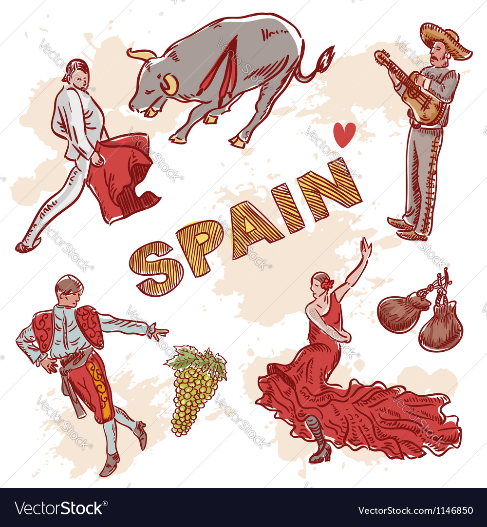 Set of spanish symbols and traditional clipart vector | Price: 1 Credit (USD $1)