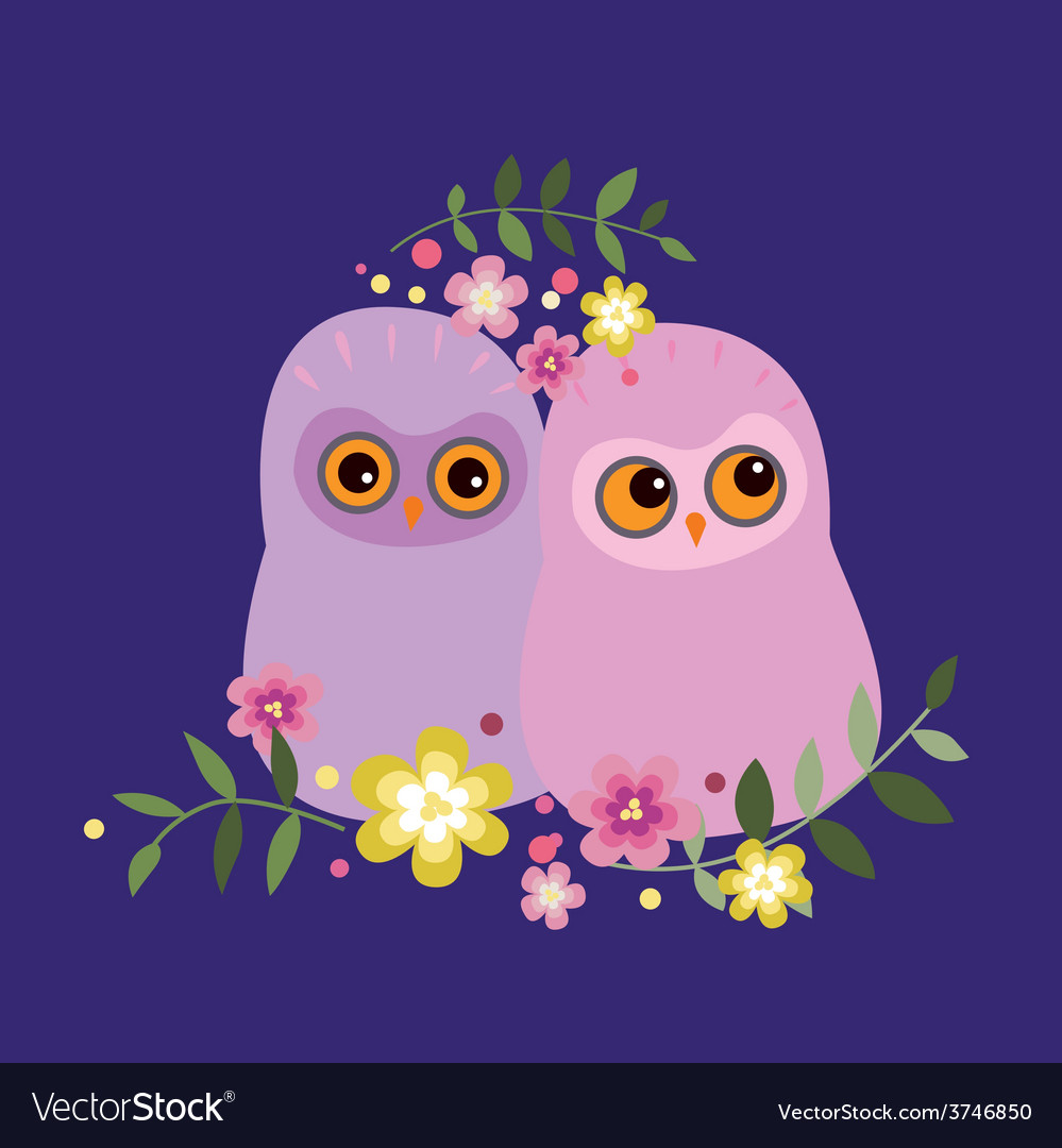 Two owls in flowers vector | Price: 1 Credit (USD $1)