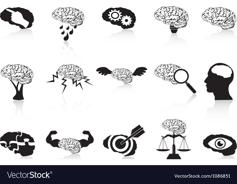 Brain conceptual icons set vector | Price: 1 Credit (USD $1)