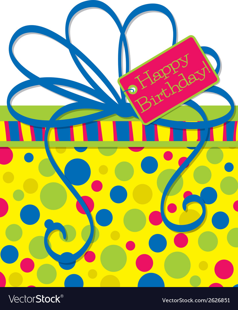 Bright gift box birthday card in format vector   Price: 1 Credit (USD $1)