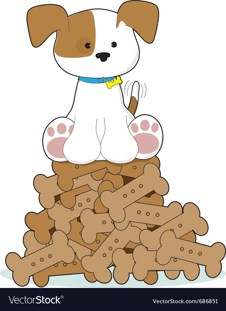 Cute puppy and bones vector | Price: 1 Credit (USD $1)