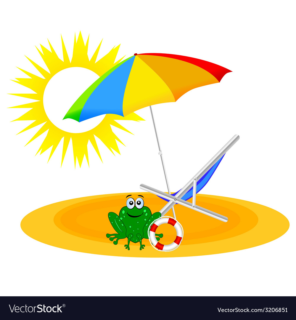 Frog on the paradise beach vector | Price: 1 Credit (USD $1)