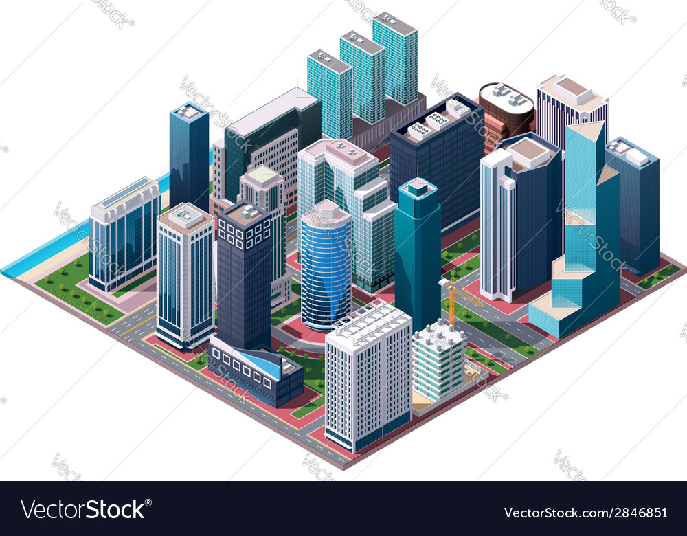 Isometric city center map vector | Price: 1 Credit (USD $1)