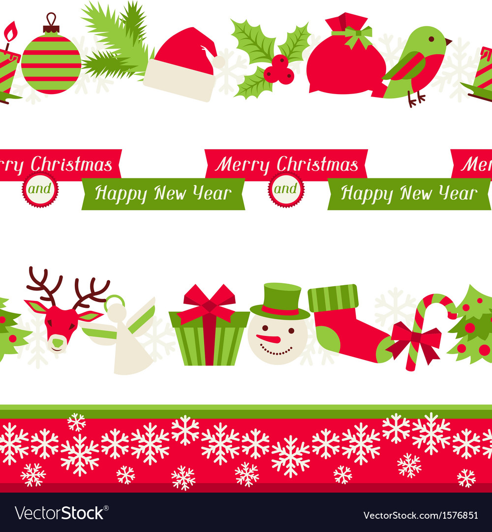 Merry christmas seamless borders vector | Price: 1 Credit (USD $1)
