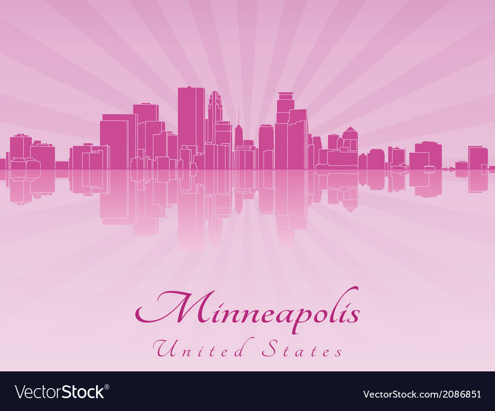 Minneapolis skyline in purple radiant orchid vector