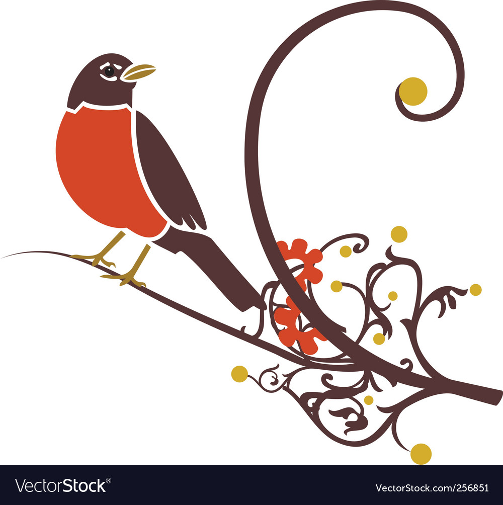 Robin on branch vector | Price: 1 Credit (USD $1)