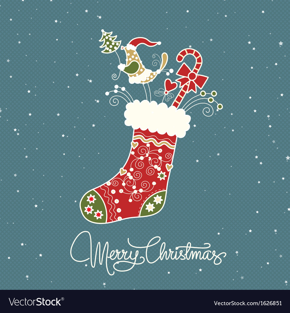 Santa claus boot vintage christmas card vector | Price: 1 Credit (USD $1)