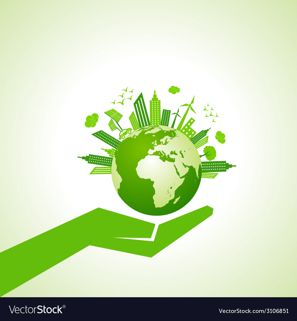 Save nature concept with eco cityscape vector | Price: 1 Credit (USD $1)