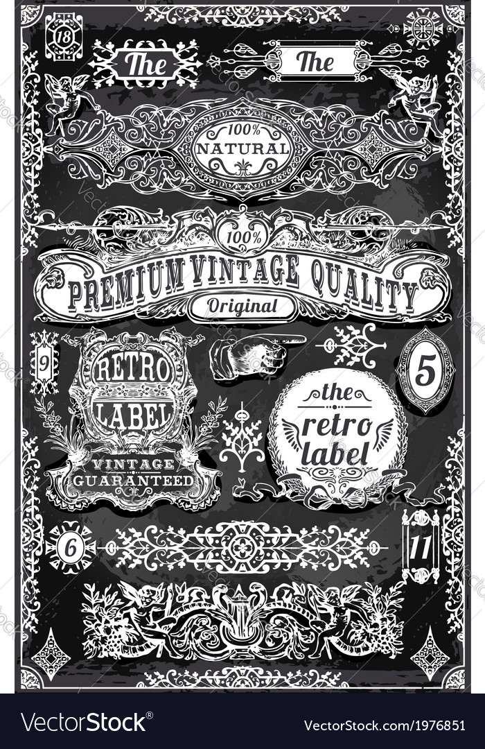 Vintage hand drawn banners and labels on vector | Price: 1 Credit (USD $1)
