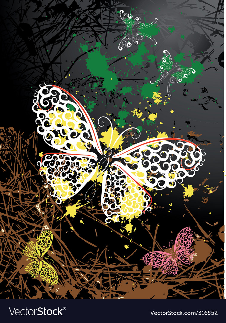 Abstract background with butterflies vector | Price: 1 Credit (USD $1)