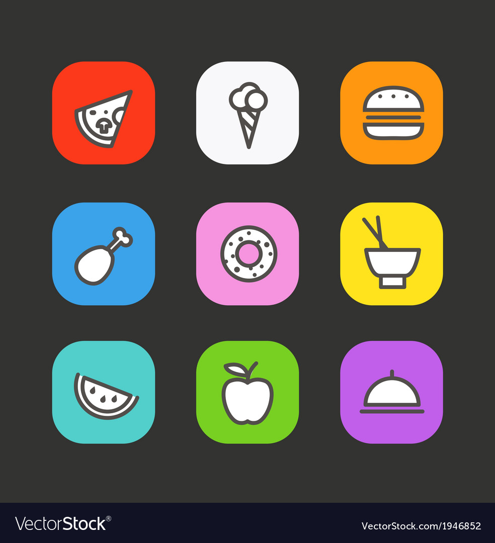 Different drinks and food icons set vector | Price: 1 Credit (USD $1)